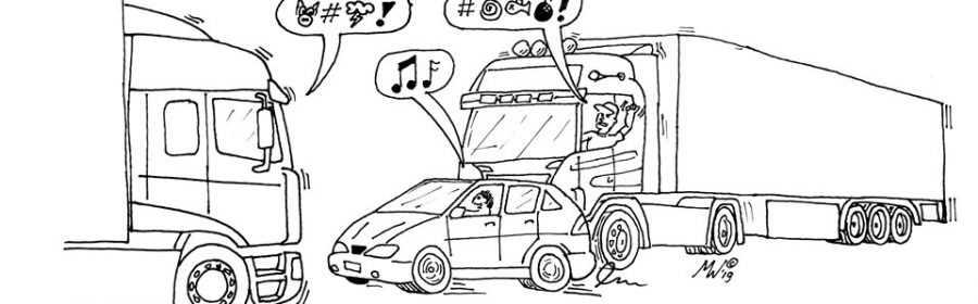 tekening Maarten van der Westen 5 ergenissen vrachtwagenchauffeurs