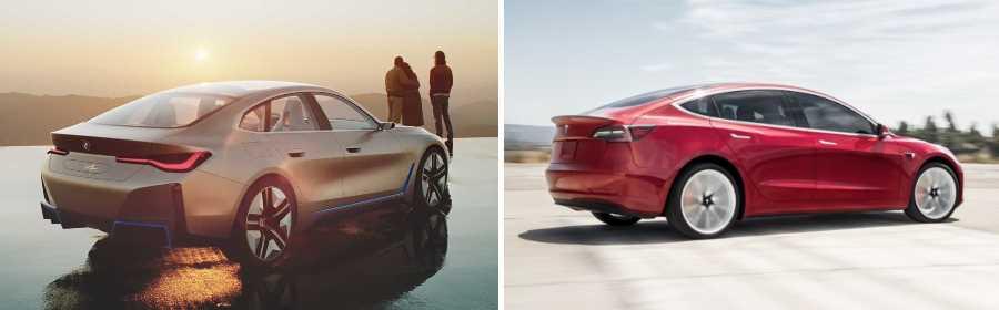 vergelijking BMW Concept i4 Tesla Model 3