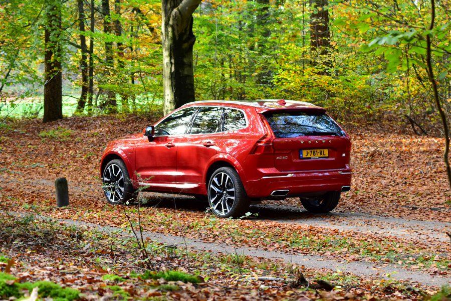 Volvo XC60 in het bos. Schuin van achter