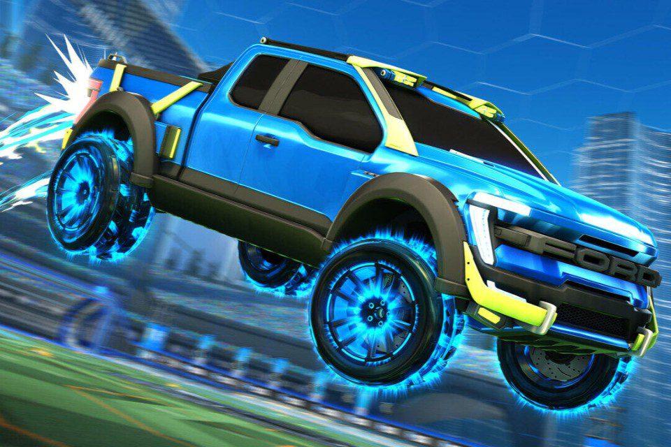 blauwe Ford F-150 getekend in een sprong