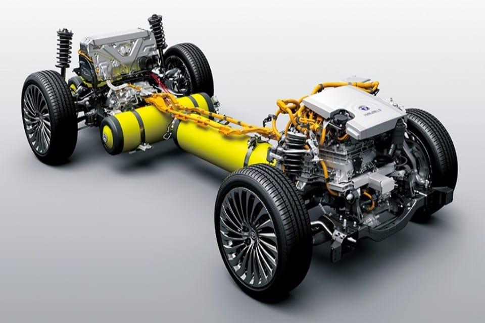chassis en gele tanks waterstofauto