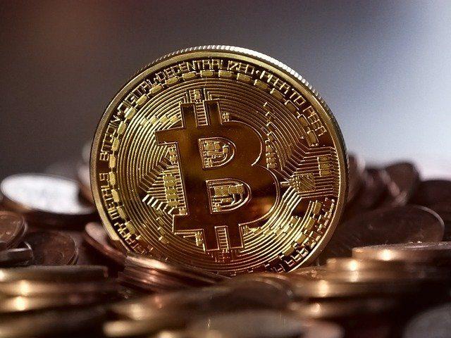bitcoinkoers stijgt na investering Tesla. Gouden bitcoin munt.