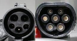 Type 1 en Typ 2 stekker elektrische auto