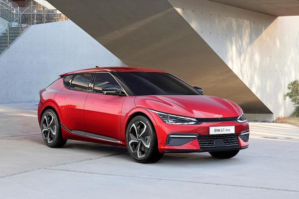 Kia EV6 GT-line in het rood