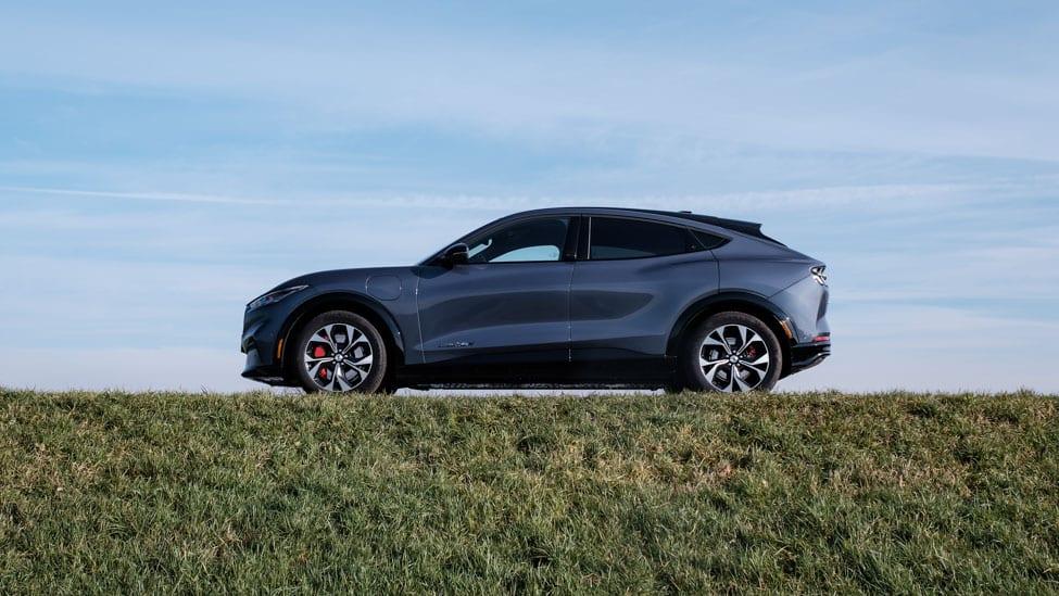 zijkant blauwe Ford Mustang Mach-e op een grasdijk