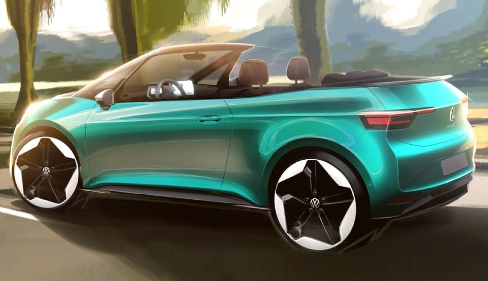 designtekening volkswagen id.3 cabrio achterkant