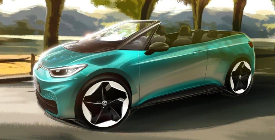 designtekening volkswagen id.3 cabrio voorkant