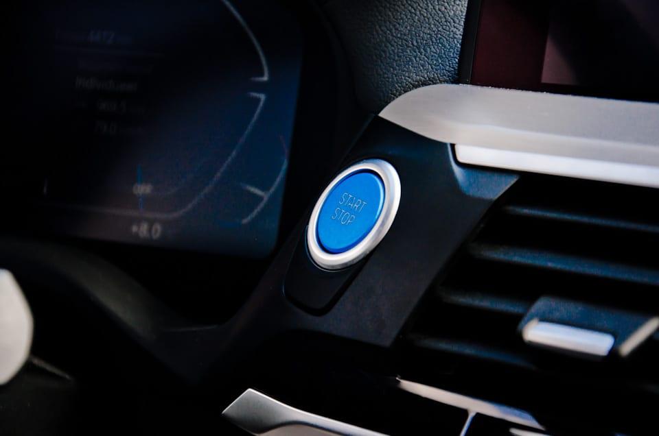 Start-stopknop, blauw, ventilatierooster