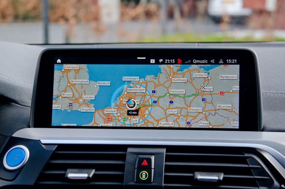 Navigatie, landkaart, roadmap, roadtrip, Berlijn, actieradiusbubbel, Europa, navigatiescherm