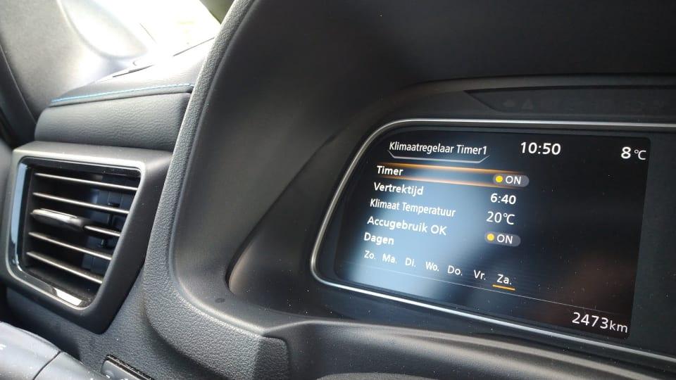 Nissan Leaf Preconditioneren, schema, multimediascherm