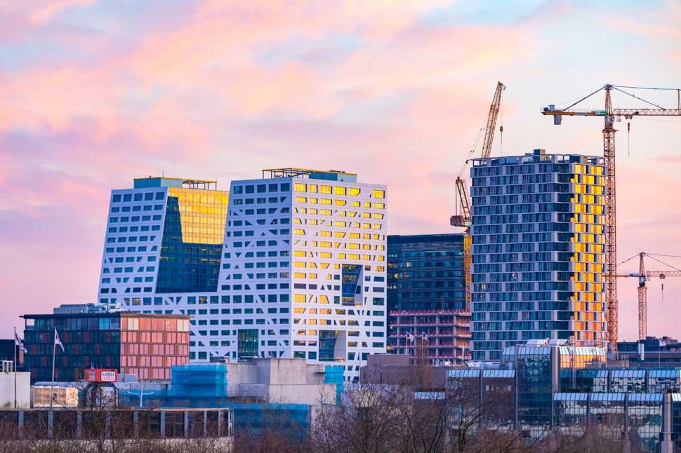 City Skyline, Utrecht Centraal, stad, hijskraan, flatgebouwen