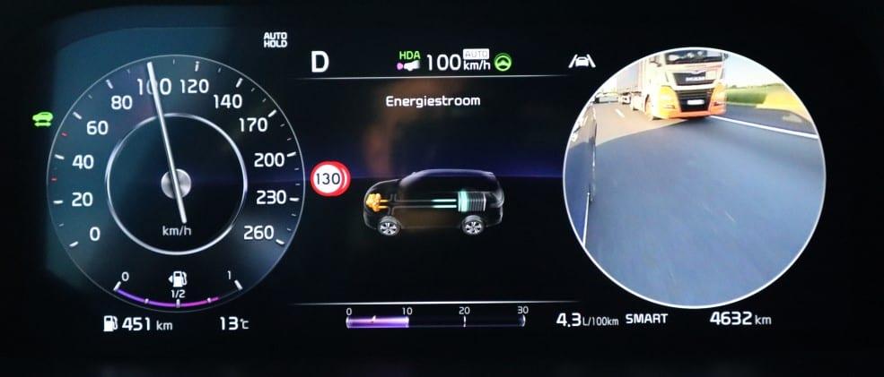 Dashboard met dode-hoekcamerabeeld