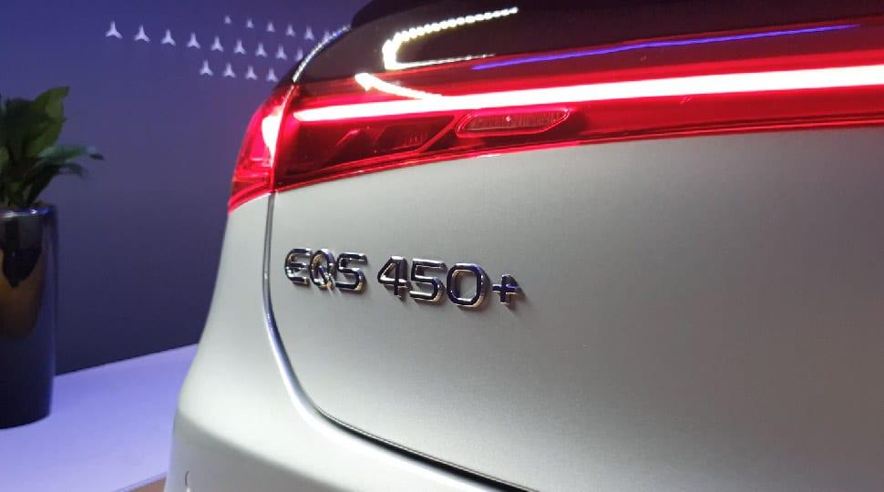 Mercedes EQS 450+ Edition One, in two tone, achterlicht en typebadge
