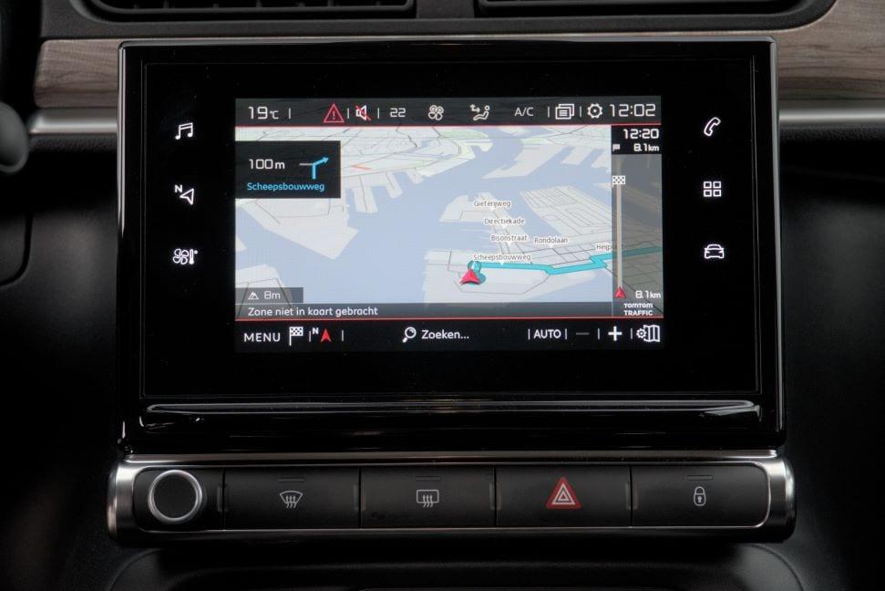 Het duidelijke en mooie navigatiescherm van de C3.