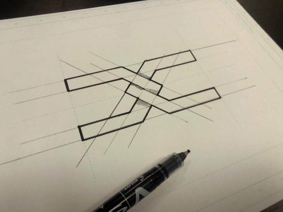 Het nieuwe Dacia logo, schets, geometrische pentekening, combinatie D en C